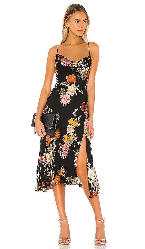 ASTR the Label Gaia Dress in Black Multi Floral   REVOLVE
