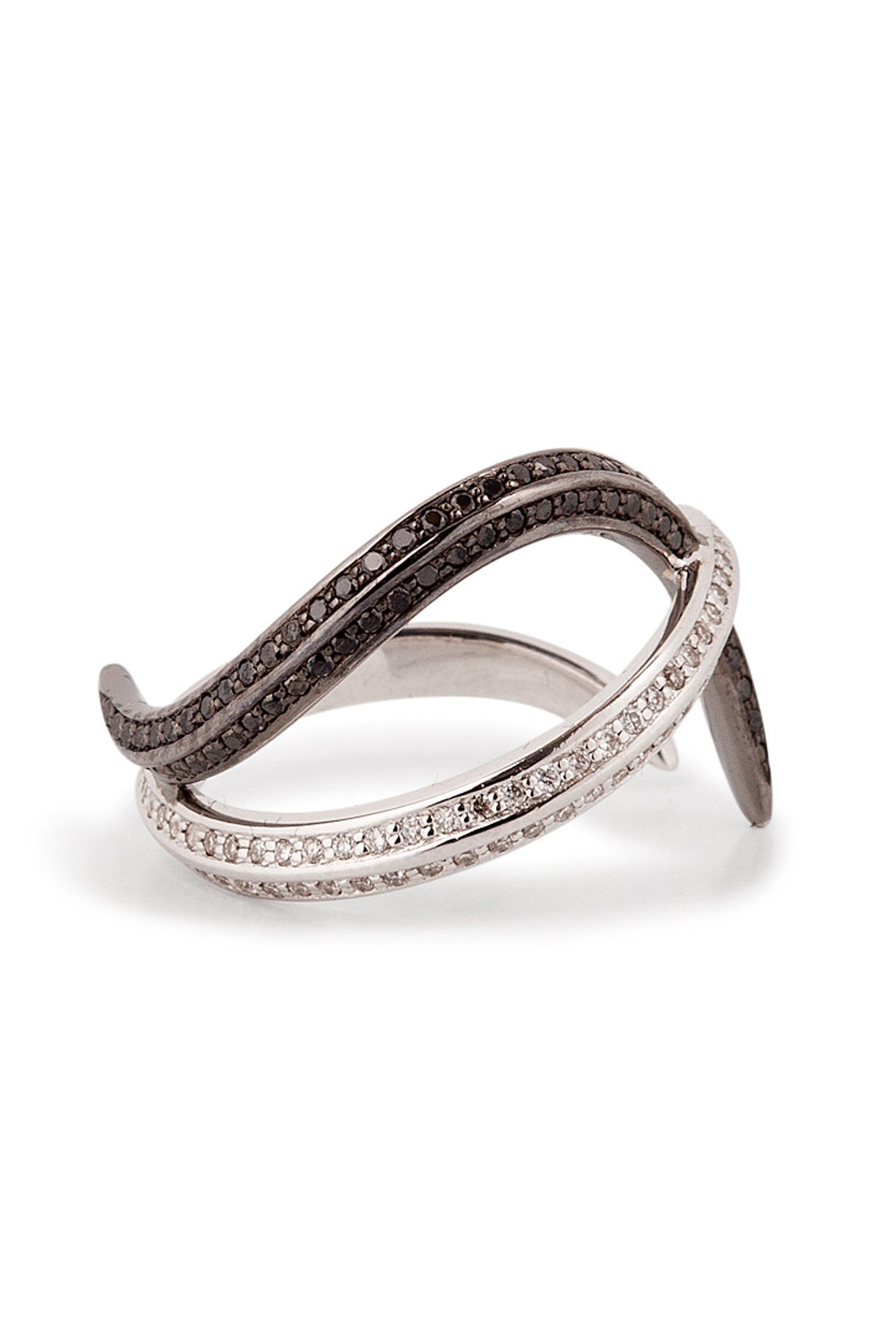 18kt Gold Thumb Ring with Black and White Diamonds Gr. One Size