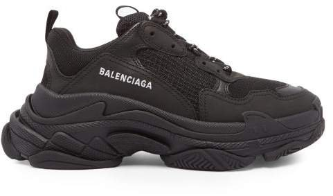 Triple S Mesh And Nubuck Trainers - Womens - Black