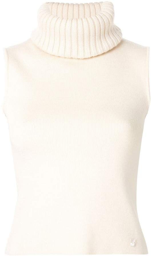 Pre-Owned turtle neck sleeveless knit top