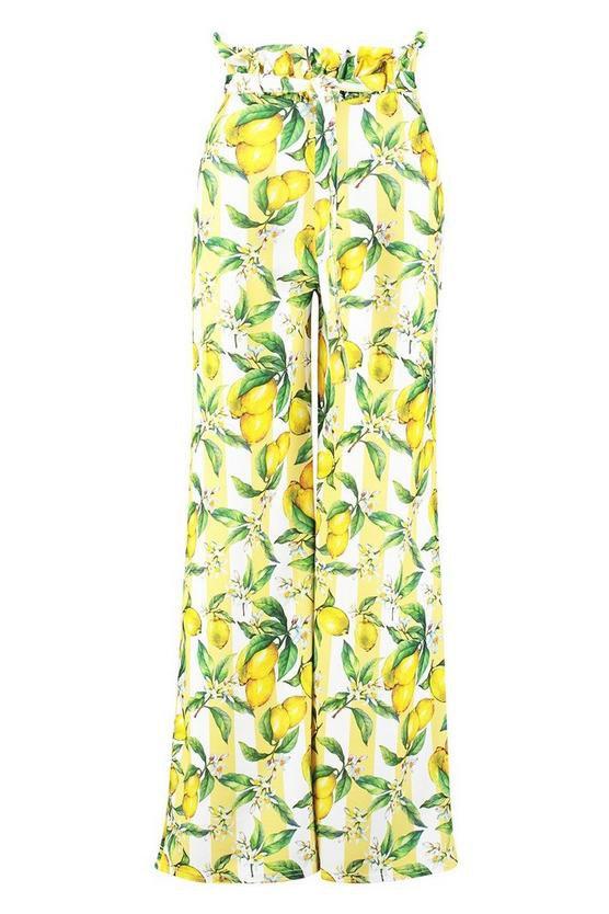 Petite Lemon Print Wide Leg Trousers Yellow Lime | Boohoo