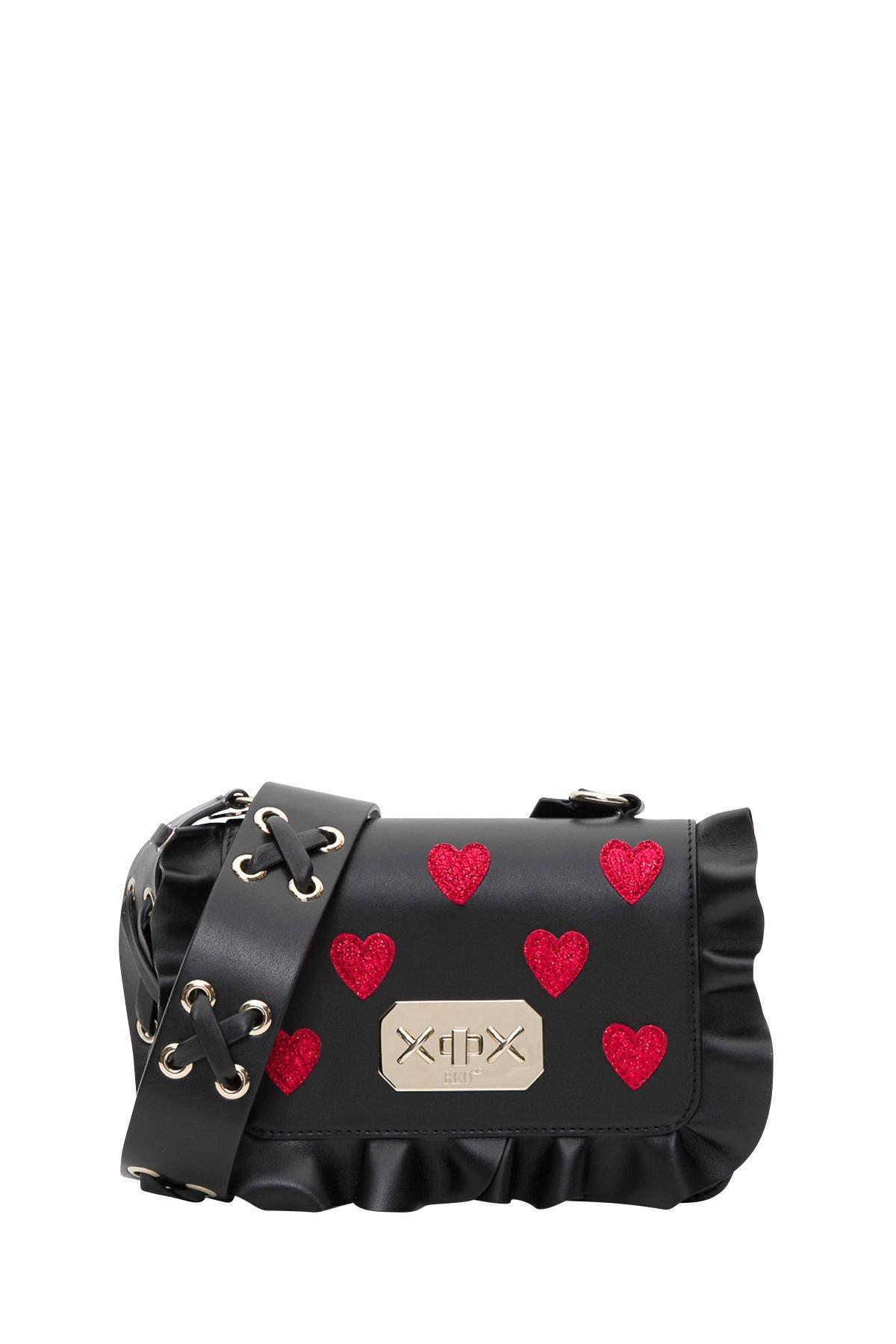 RED Valentino Rock Ruffles Crossbody Bag With Glitter Hearts