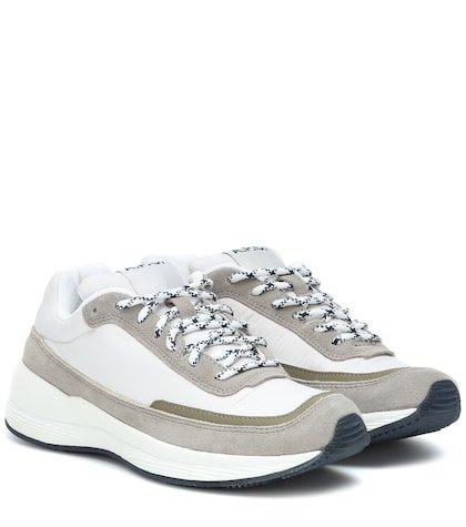 Running suede-trimmed sneakers