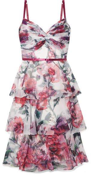 Tiered Floral-print Organza Midi Dress - Ivory