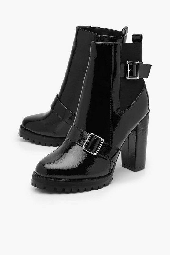Buckle Detail Block Heel Chelsea Boots   Boohoo