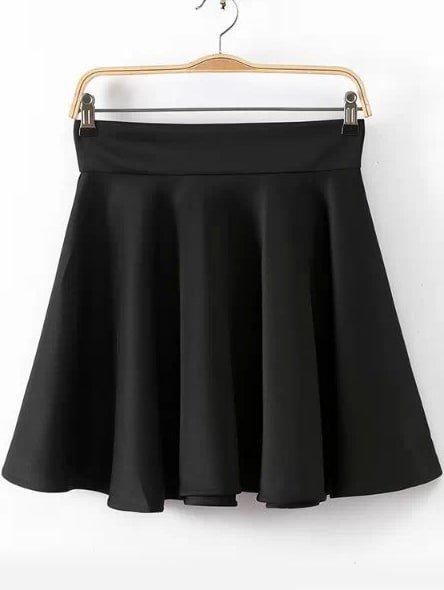Black High Waist Pleated Skirt | ROMWE
