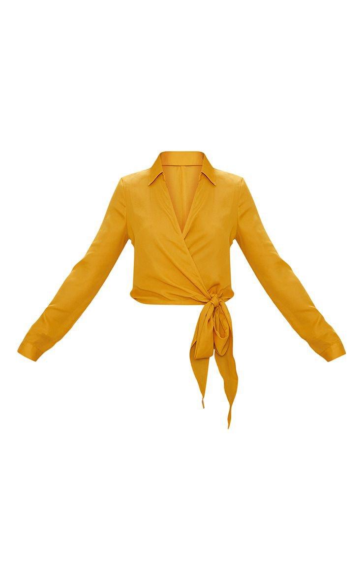 Mustard Avalyn Wrap Front Tie Side Blouse   PrettyLittleThing