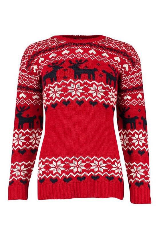 Christmas Fairisle Knitted Jumper   Boohoo red