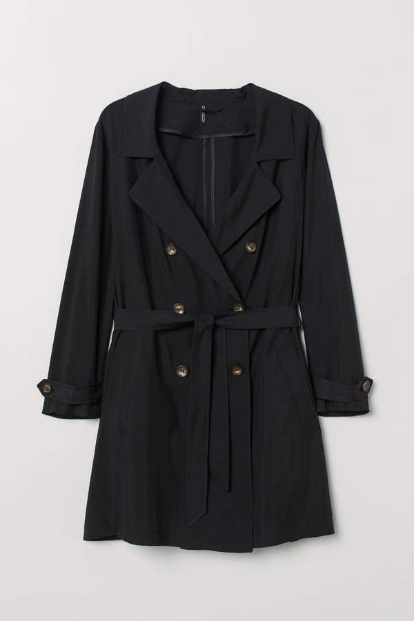 H&M+ Lightweight Trenchcoat - Black