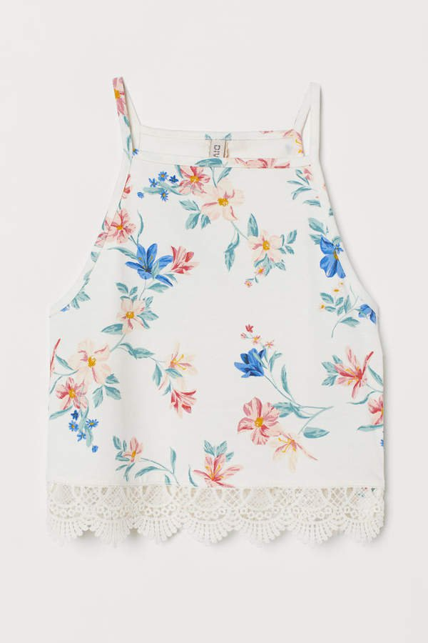 Tank Top with Lace - White