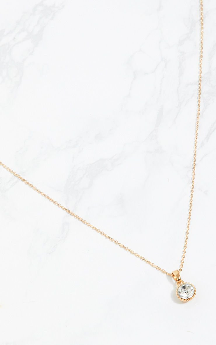 Gold Diamante Pendant Necklace   Accessories   PrettyLittleThing USA
