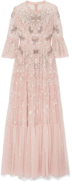 Dragonfly Garden Embellished Embroidered Tulle Gown - Blush