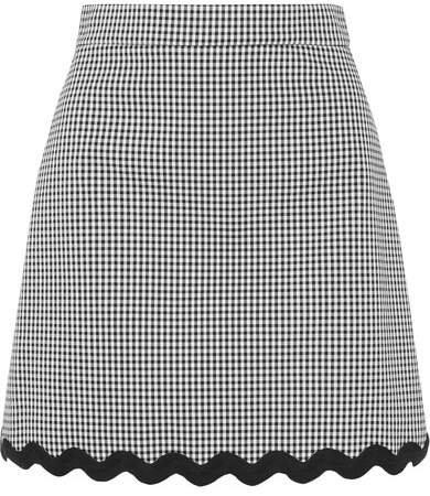 Cord-trimmed Gingham Cotton-blend Mini Skirt - Black