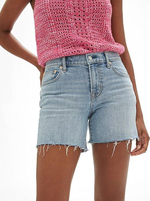 "Mid Rise 5"" Denim Shorts with Raw-Hem   Gap Factory"