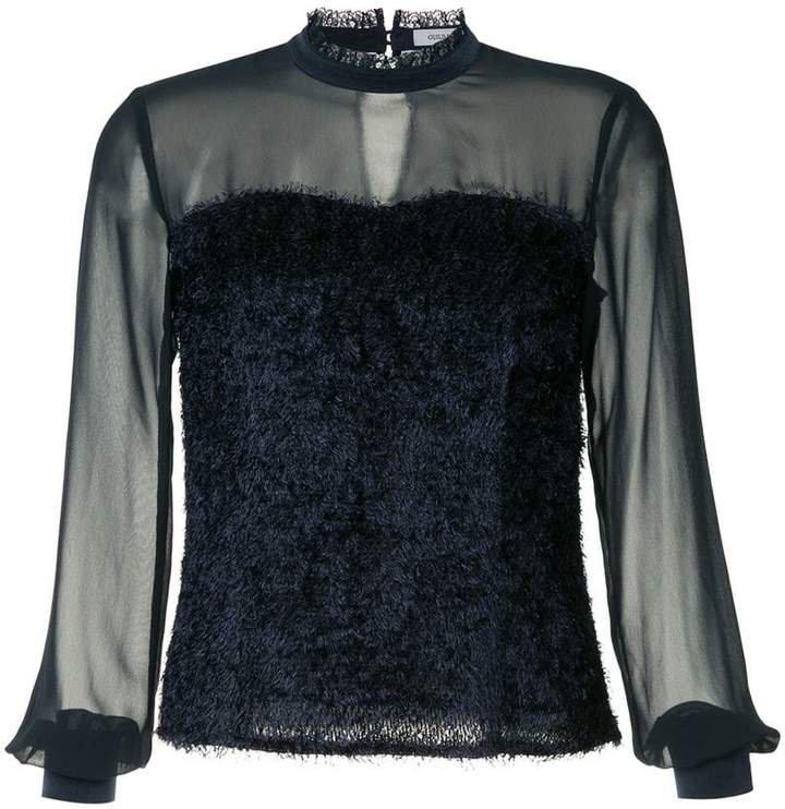 sheer fringed blouse
