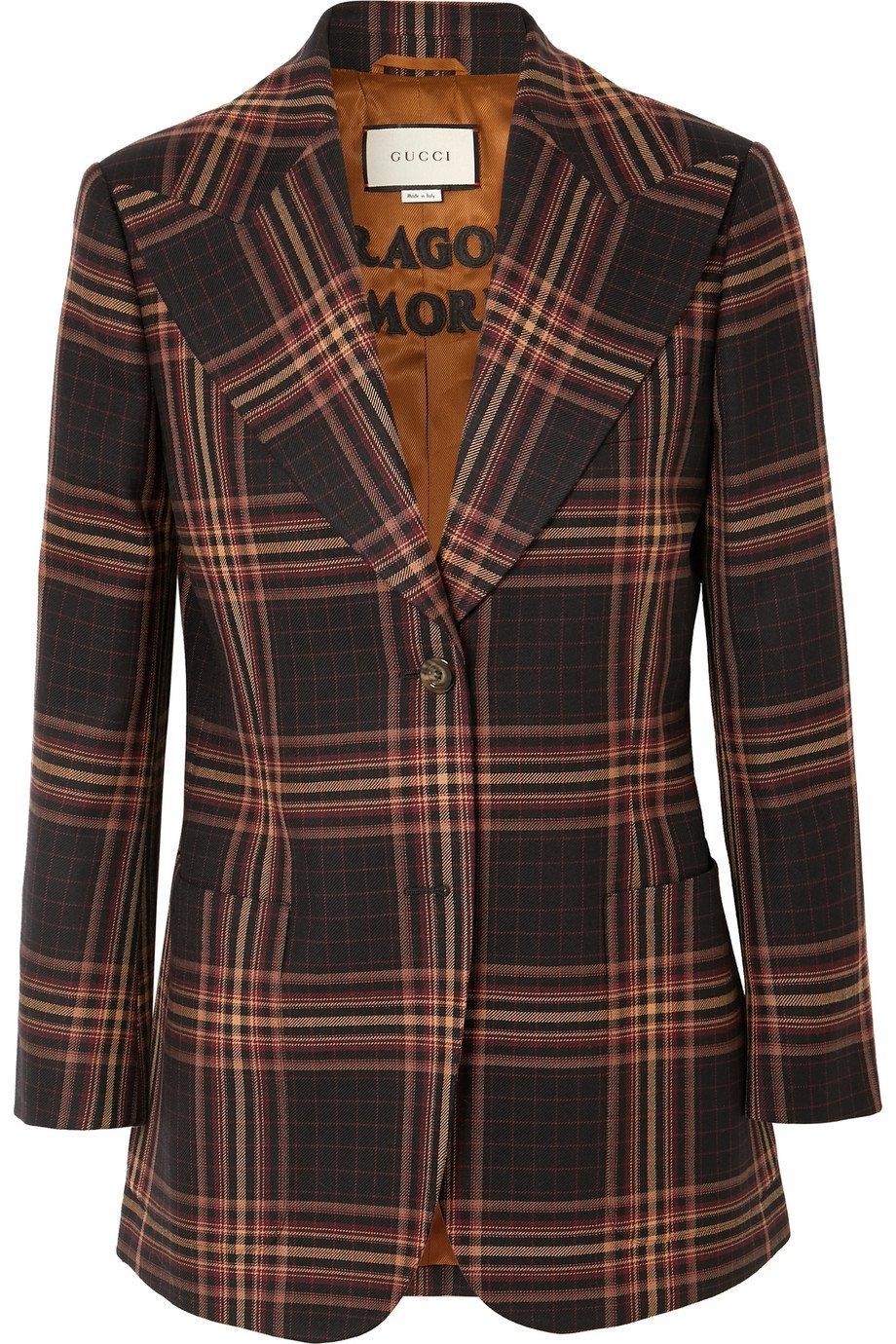 Gucci   Checked wool-twill blazer   NET-A-PORTER.COM