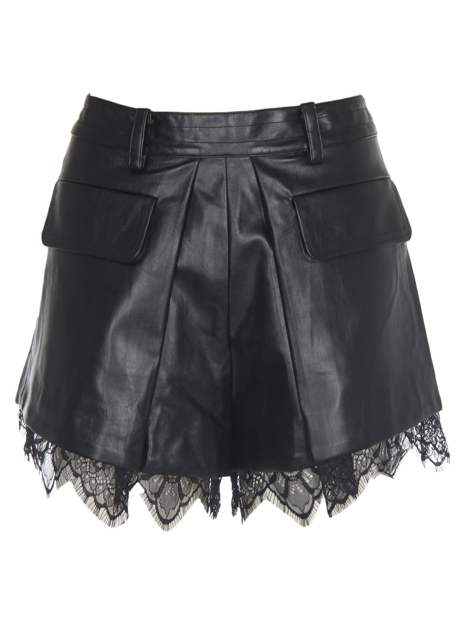 self-portrait Black Faux Leather Shorts With Lace