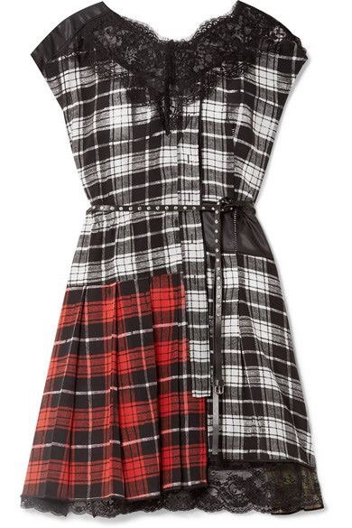 Marc Jacobs | Lace-trimmed plaid silk-chiffon and shell mini dress