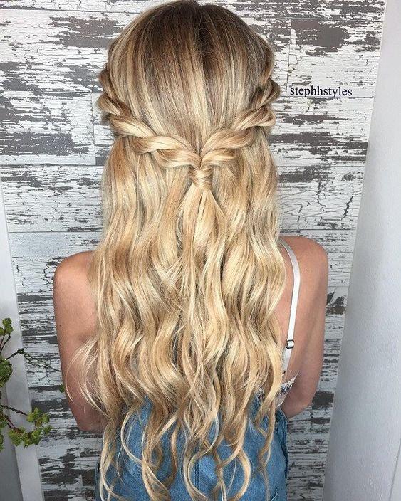 Blonde Hair Half Down-Half Up