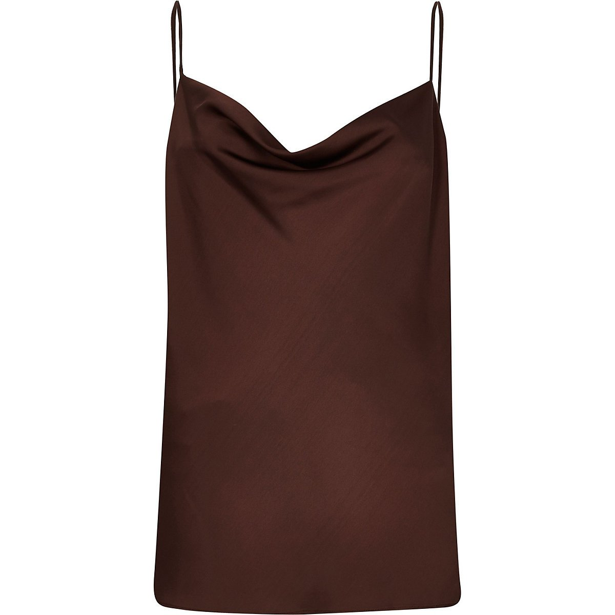 Brown cowl neck cami top - Cami / Sleeveless Tops - Tops - women