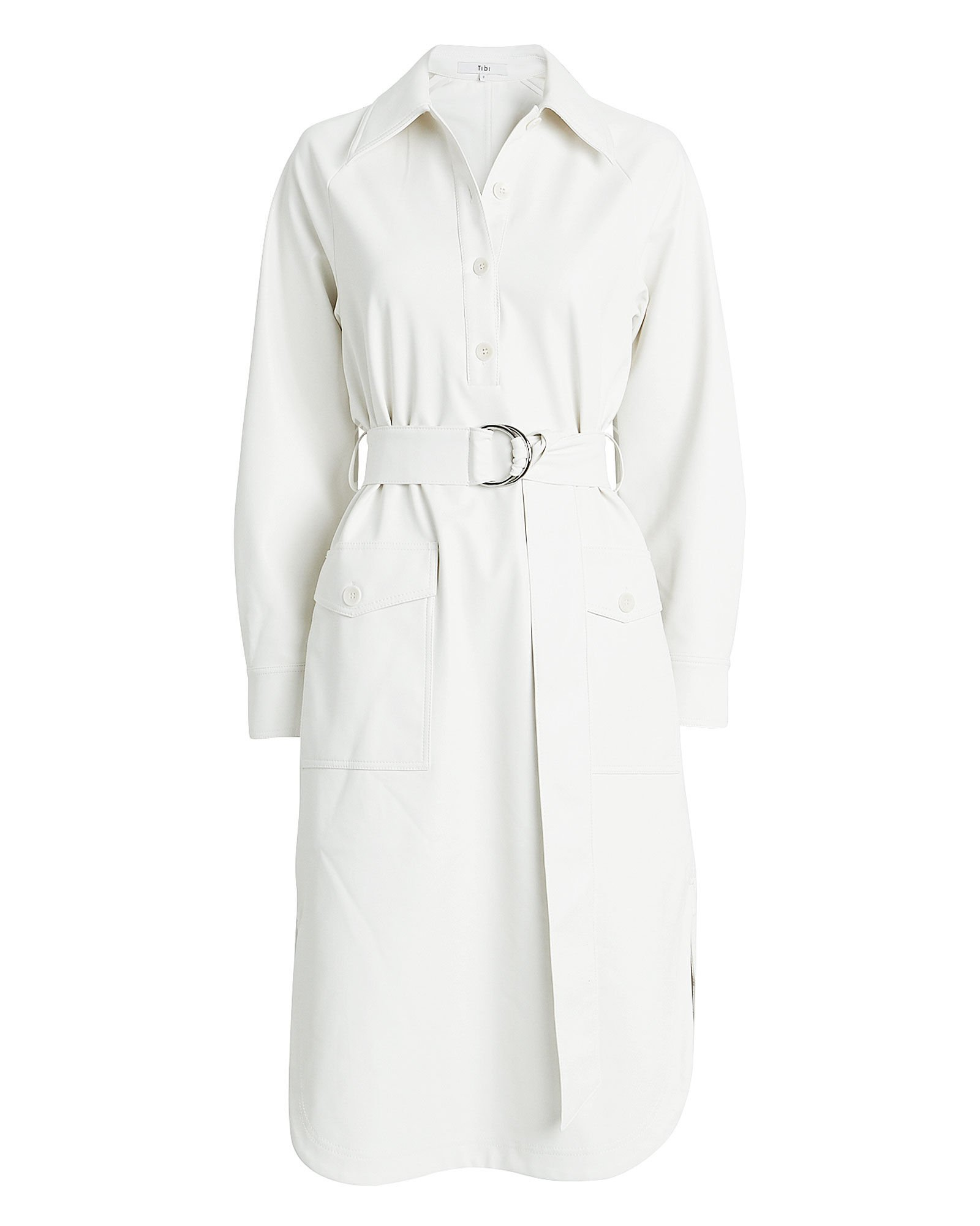 Tibi | Faux Leather Belted Shirt Dress | INTERMIX®