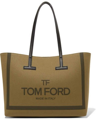 T Medium Leather-trimmed Printed Cotton-canvas Tote - Army green