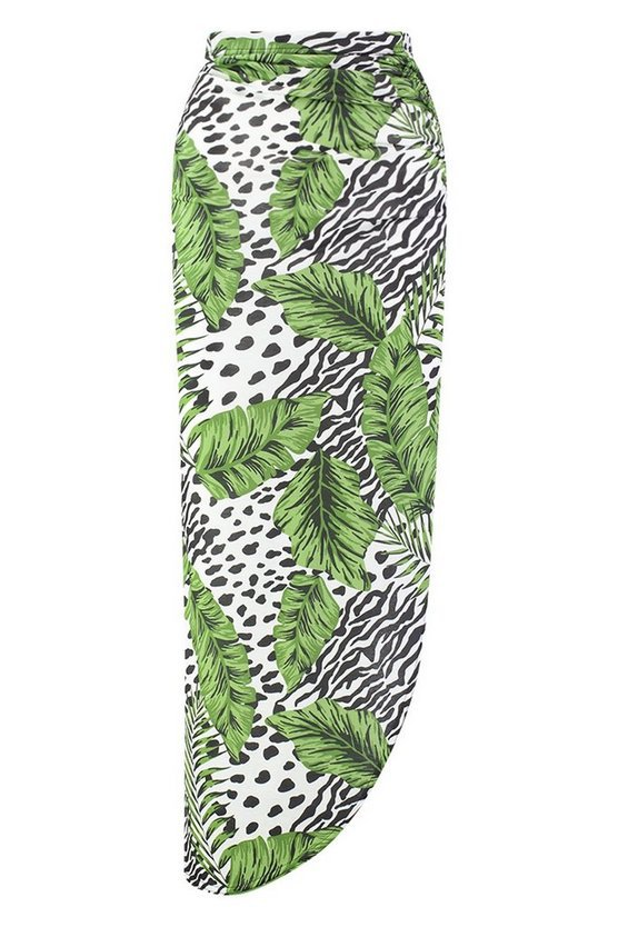 Leopard Palm Rouched Side Maxi Skirt | Boohoo
