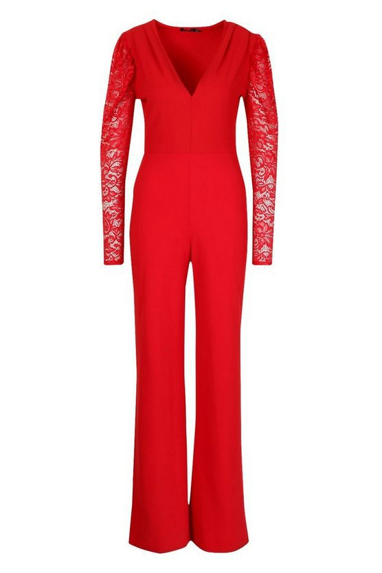 Plunge Front Lace Sleeve Wide Leg Jumpsuit red