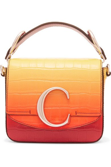 Chloé | Chloé C ombré croc-effect leather shoulder bag | NET-A-PORTER.COM