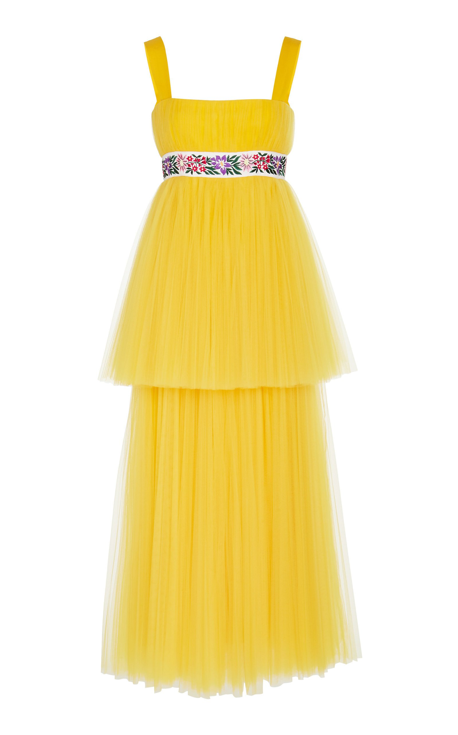 Carolina Herrera Embroidered Tiered Tulle Dress
