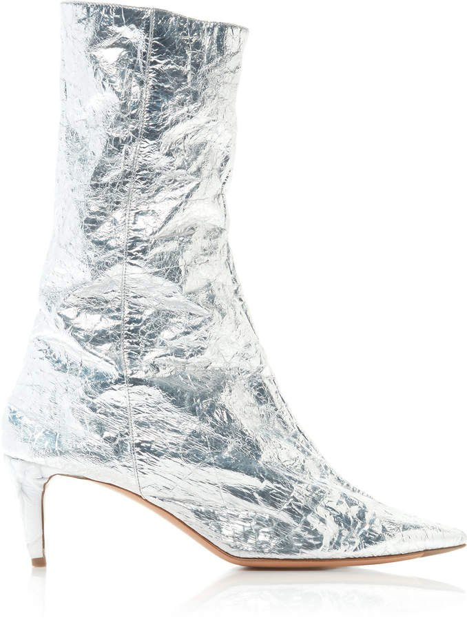 Beau Crinkled Leather Ankle Boots