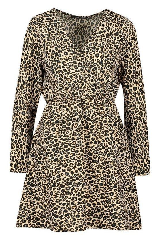 Leopard Print Wrap Skater Dress | Boohoo leopard