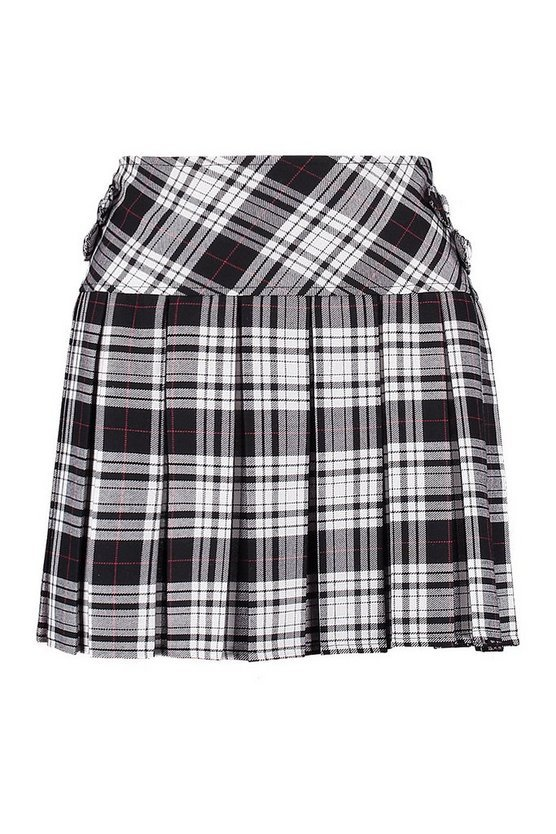 Monochrome Tartan Check Pleated Kilt Woven Skirt | Boohoo