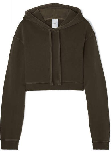 Kith - Alexa Cropped Cotton-jersey Hoodie - Army green
