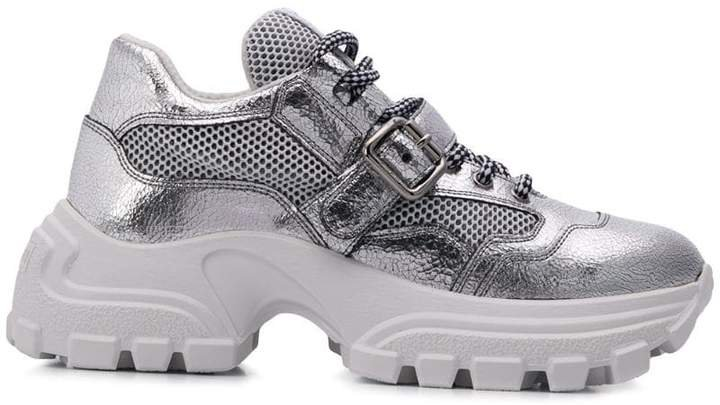 crackled chunky sneakers