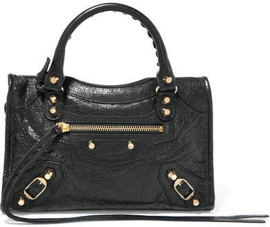 Classic City Mini Textured-leather Tote - Black