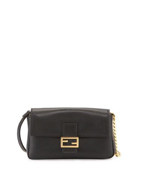 Fendi Micro Leather Baguette, Black