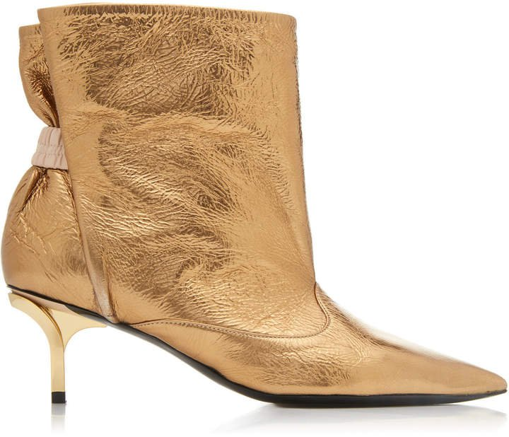Metallic Ruched Leather Ankle Boots