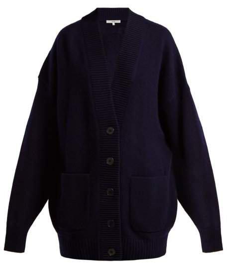 Oversized Cashmere Cardigan Coat - Womens - Navy