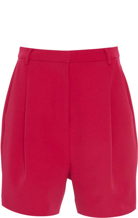 Pleated Stretch-Crepe Shorts