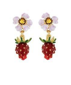 Red Strawberry and White Flower Earrings - Pinterest