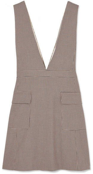 Checked Woven Mini Dress - Beige