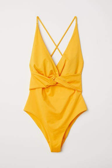 Knot-detail Swimsuit - Yellow