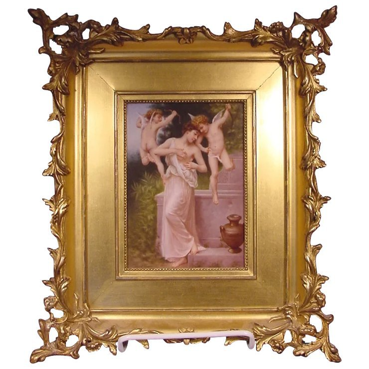 The Wound Of Love 2 Cherubs A Lady After Bouguereau : Beverly Hills Antiques | Ruby Lane