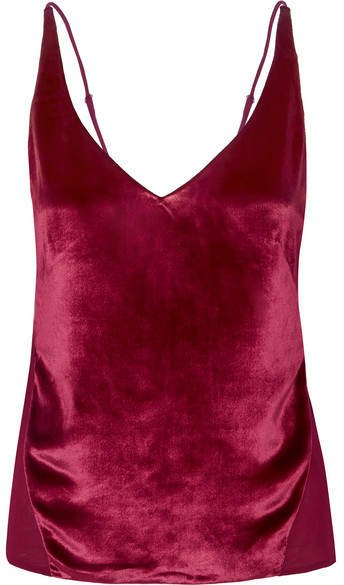 Lucy Velvet And Silk-georgette Camisole - Red