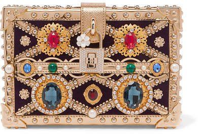 Dolce Box Embellished Metallic Patent-leather And Velvet Clutch - Gold
