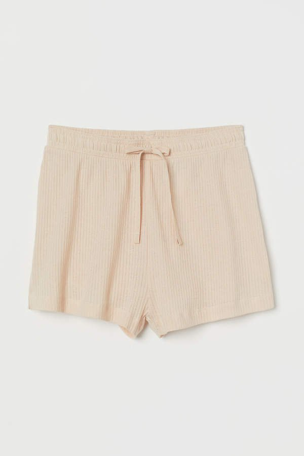Pointelle Cotton Shorts - Beige
