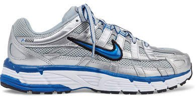 P-6000 Metallic Leather And Mesh Sneakers - Silver