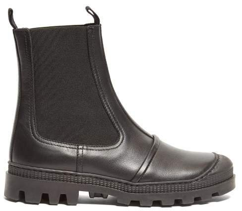 Tread Sole Leather Ankle Boots - Womens - Black