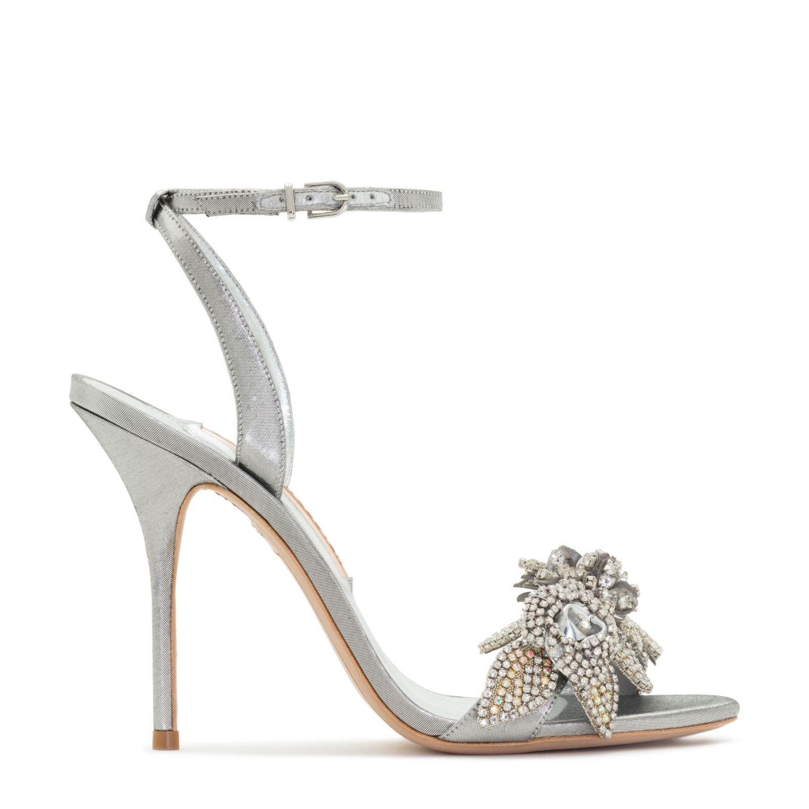 Silver gemstone flower sandal pumps
